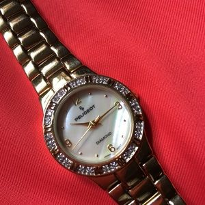 Vintage PEUGEOT Ladies Goldtone Diamond Watch